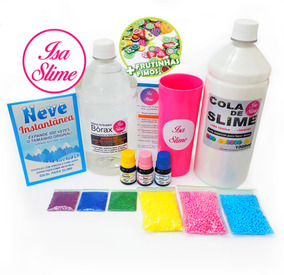 Kit Slime Barato Cola Branca+ Borax+ Glitter+ Isopor+corante