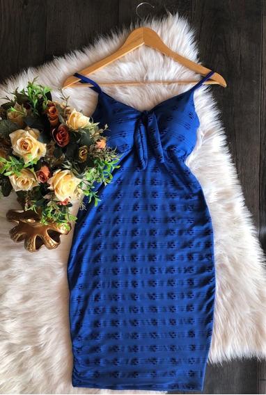 Vestido Tubinho Decote Laço Com Bojo No Lese