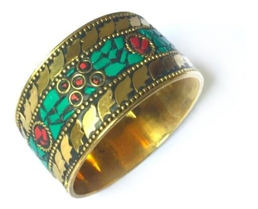 Bracelete Indiano Bronze Pedra Turquesa Tibetana