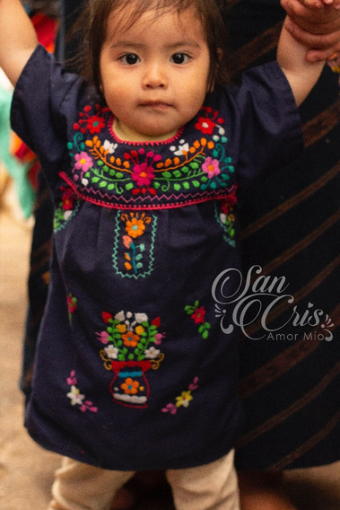 Vestido Niña / Bebé Artesanal Bordado Mexicano, Chiapas.