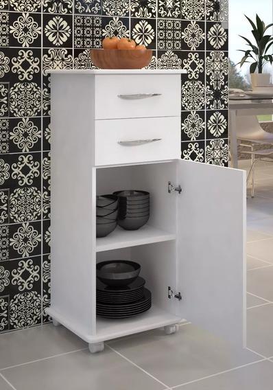 Criado Mudo Cama Box Multiuso Com Rodinhas Lavanderia Branco
