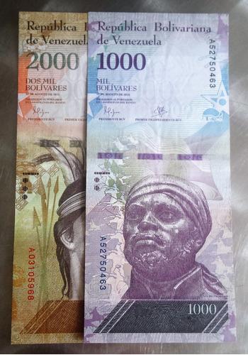 Pack 2 Billetes Mil Y 2 Mil Bs Venezuela Agosto 2016 A8 Au+