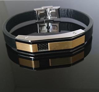 Bracelete Pulseira Masculina Preta Aço Inox Banhada Ouro 18k