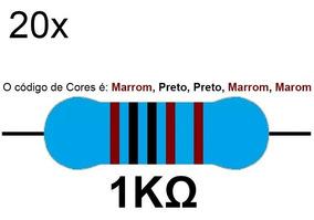 20 Resistor 1k 1/4 W 1% Azul Led 5v 12v Arduino Raspberry