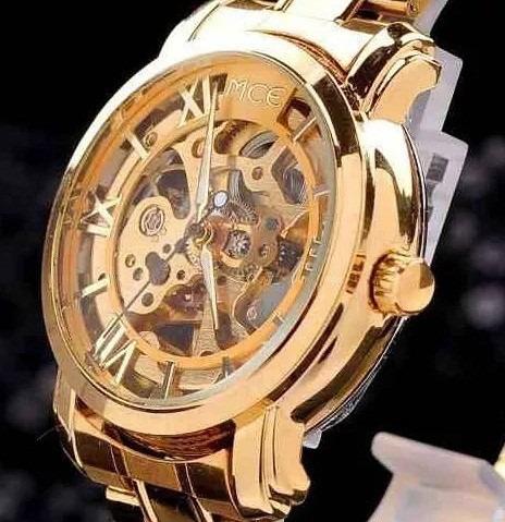 Relógio Masculino Classico Automático Esqueleto Dourado
