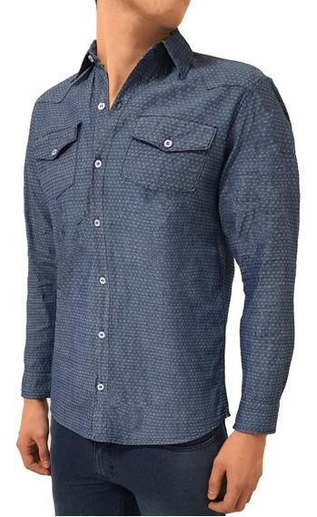 Camisa Jeans Social Masculina Slim Fit Blusa Camiseta Festa