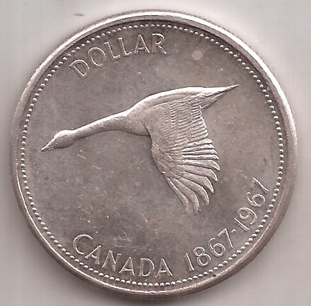 Canada Gran Moneda De Plata 1 Dolar Año 1967 23.3 Gramos