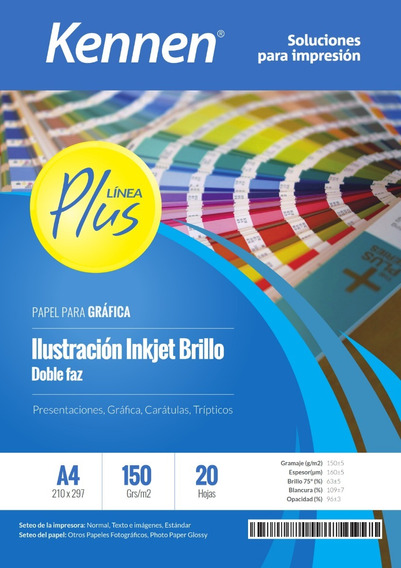 Papel Ilustración Inkjet Brillo Bifaz 150g A4 Kennen 40hojas