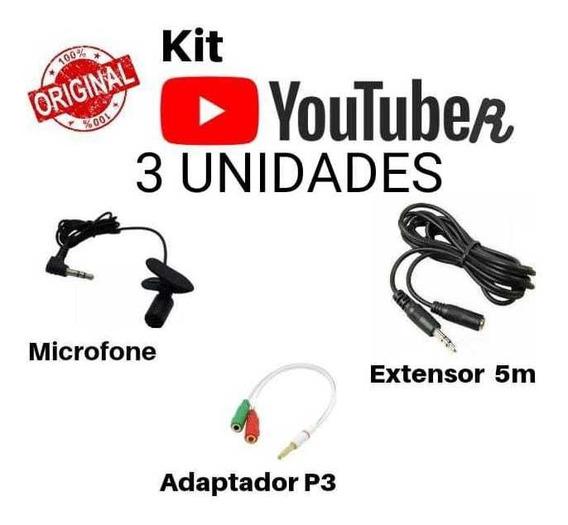 Microfone De Lapela + Adaptador + Extensor De 5m