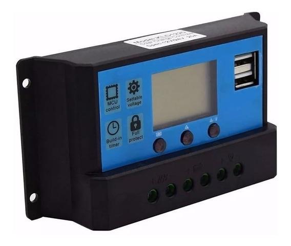 Controlador Panel Solar Pwm 12v / 24v 30a 360-720w Auto Lcd