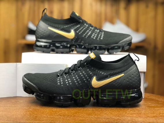 Tenis Nike Air Vapormax Flyknit 2.0 Original Black Gold 38br