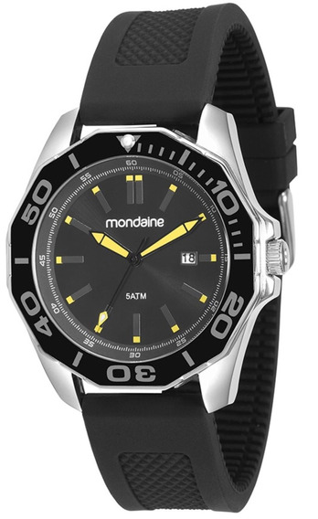 Relógio Masculino Mondaine 83360g0mvnu1 46mm Silicone Preto