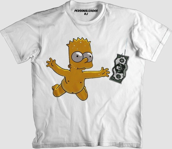Camisa Personalizada Bart Nirvana Never Mind Simpsons