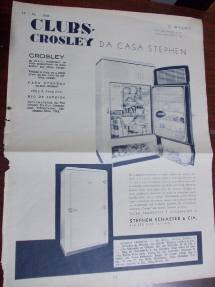 Propaganda Antiga - Refrigeradores Crosley Da Casa Stephe