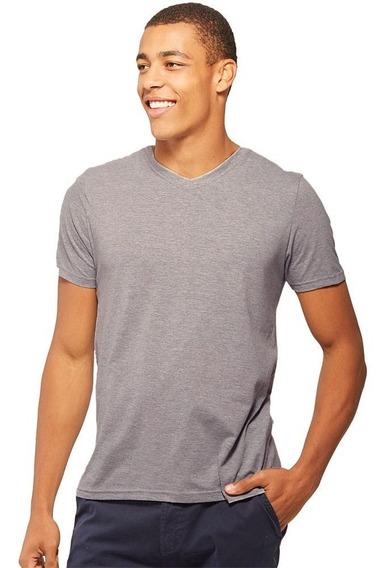 Camiseta Básica Gola V Mescla - Basicamente By Malwee
