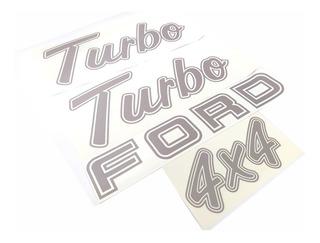 Kit Emblema Adesivo Ford F1000 Turbo 4x4 Em Prata F10008