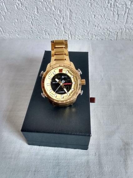 Relógio Naviforce Dourado Digital Aço Original