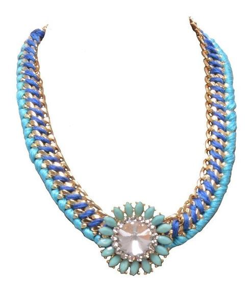 Collar Flor Azul Y Jade