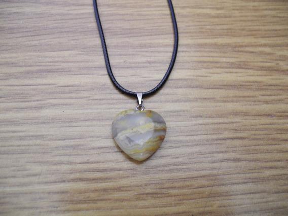 Colar Coração Pedra Natural Gargantilha Cordão Preto