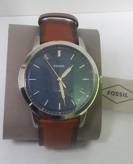 Reloj Fossil Hombre Minimalist Fs 5304 Pulso Cuero Cafe