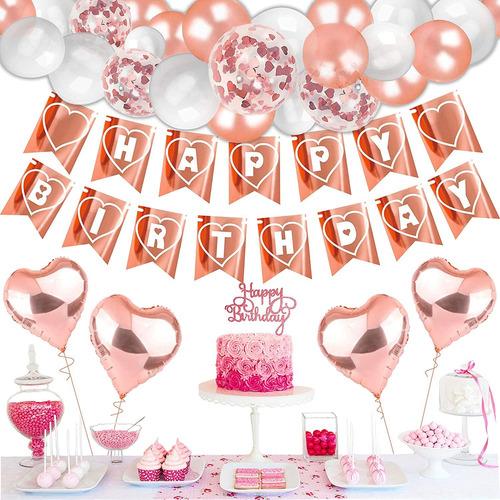 Ktduo - Kit De Decoracion De Cumpleaños De Oro Rosa Para M