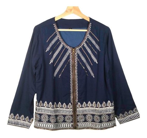 Chaqueta Saco Azul Saco Hindu T.raps Bordado Import Boutique