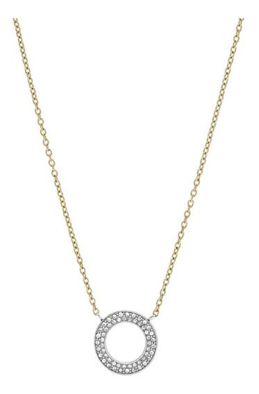 Collar Dama Fossil Jf03283998 Color Dorado De Acero