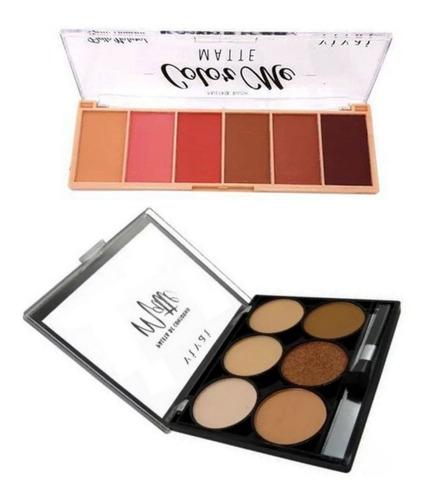 Imagem 1 de 7 de Kit De Maquiagem Vivai Blush Color Me + Contorno Matte Cor 1
