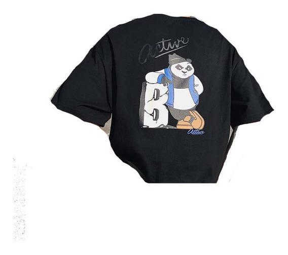 Playera Holgada Oso Panda Manga Tres Cuartos R21136