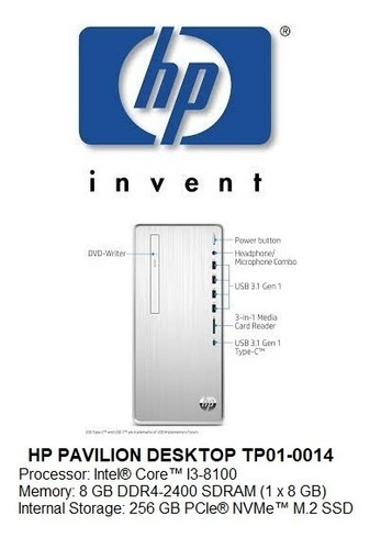 Imagen 1 de 3 de Hp Pavilion Desktop Tp01-0014 Intel I3-8100/8gb Ram/256gb. S