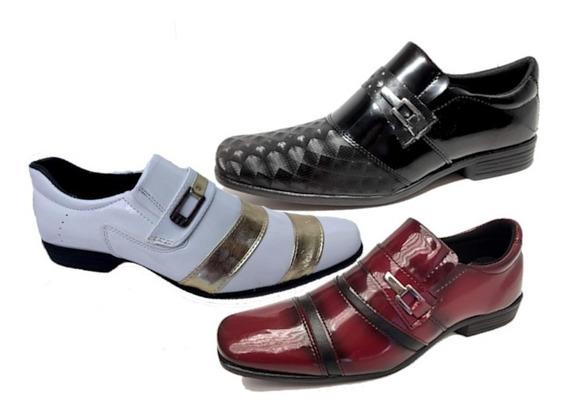Kit 3 Sapato Social Masculino Branco/bordo/preto *barato*