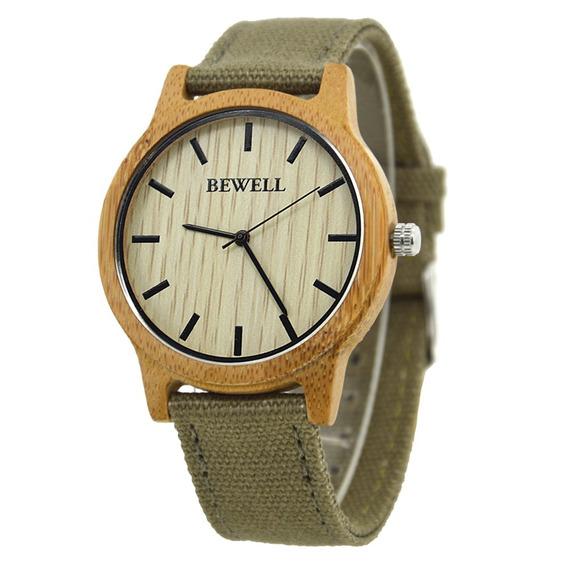 Relógio Madeira Bewell Original Marrom Avermelhado Unissex