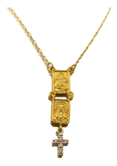 Corrente Escapulário Rosário Sagrado Coração Ouro J22352