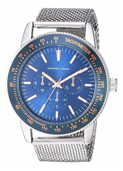 Relógio Geoffrey Benne Prata Com Azul Gb8156sl