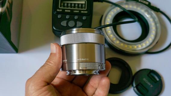 Lente Macro Sony 30mm + Flash Circular Tudo Novinho!