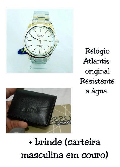 Relógio Atlantis Original Com Brinde Carteira Masculina