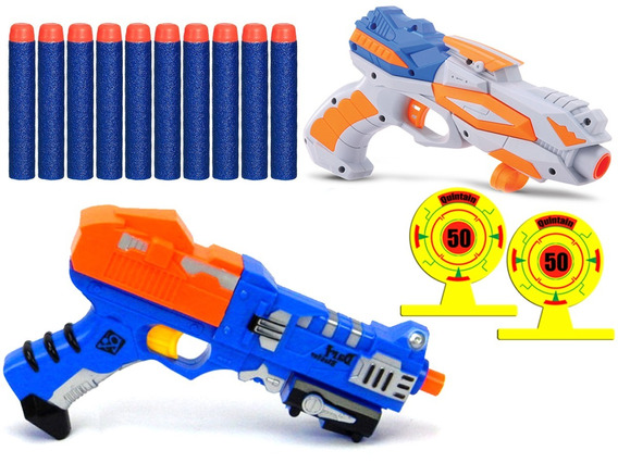 Kit 2 Pistolas Lança Dardos Estilo Nerf 10 Dardos 2 Alvos Xp