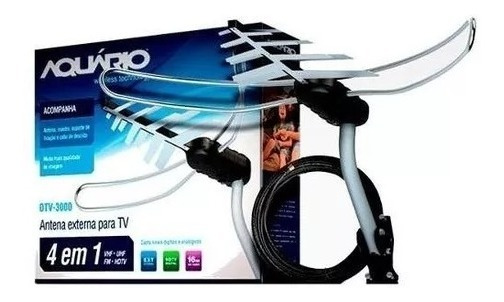 Antena Externa Digital Aquário Tv 4 Em 1 Cabo 16m Dtv-3000