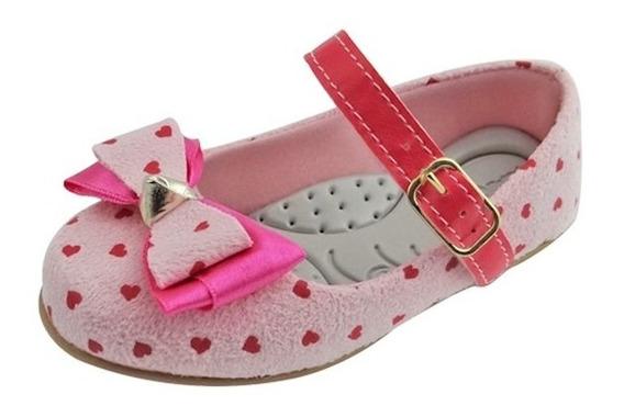 Sapato Boneca Baby Com Laço E Coração - Rosa