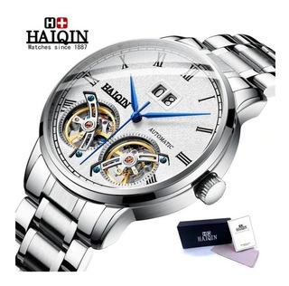 Relógio Hq Automático Double Tourbillion Original 3atm Fino