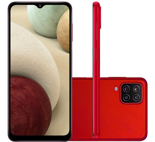 Imagem 1 de 5 de Celular Samsung Galaxy A12 Vermelho 64gb Tela 6.5  4 Cameras
