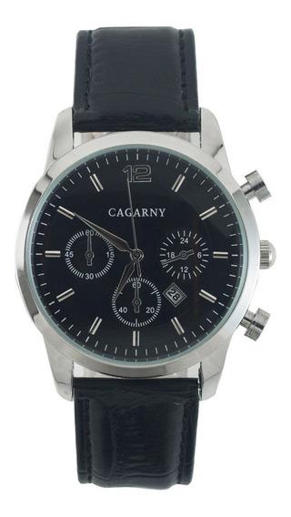 Reloj Cagarny 240 Negro Plateado De Piel Y Con Fechador