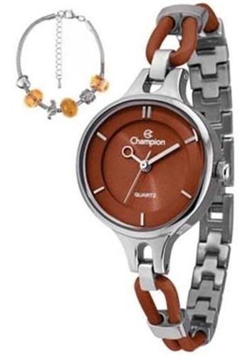 Relógio De Pulso Champion Ca28387c Marrom Original Analógico