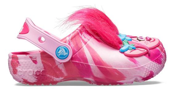 Zapato Crocs Niña Fun Lab Trolls Cabello Rosa