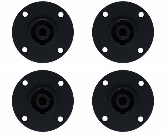 4 Plug Conector Speakon Painel Com Trava Metal Tipo Neutrik