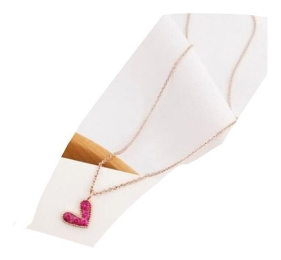 Collar Corazon Heart En Oro Rosa Cadena Dije Mujer Niña Cute