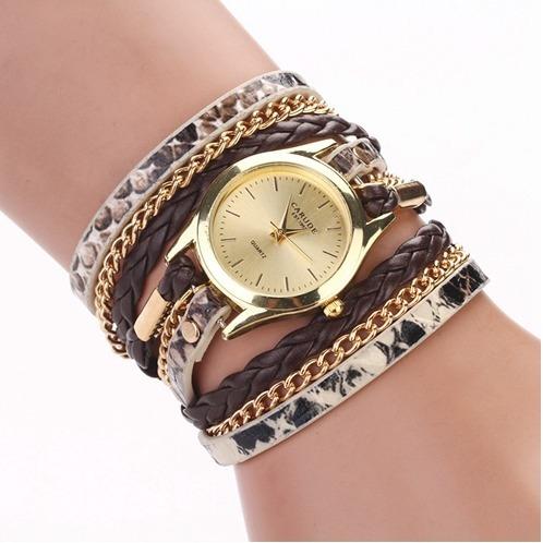 Relógio Feminino Dourado Bracelete Pulseira Couro Barato