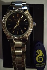 Relógio Atlantis W3261 Prata Fundo Preto - Envio Já