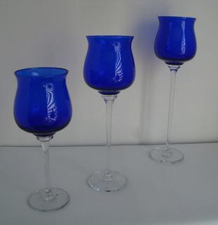 Juego De 3 Copas Gigantes De Cristal Frances Decorativas Para Consolas O Centro De Comedor Cristal De Cobalto.