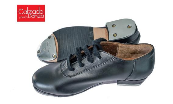 Zapatos De Tap Acordonados En Cuero Con Chapas Y Goma Febo